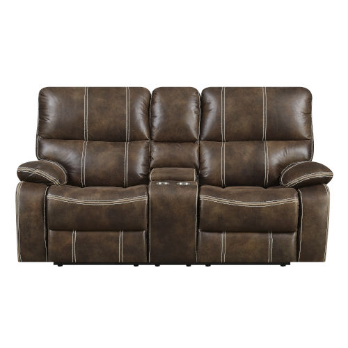 Selby Chocolate Brown Reclining Loveseat with USB Charging Station