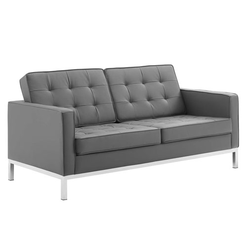 Uptown Silver and Gray Loveseat