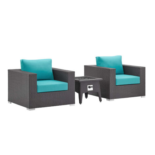 Darren Espresso and Turquoise Three Piece Outdoor Patio Furniture Set with Fire Pit, Two Arm Chairs