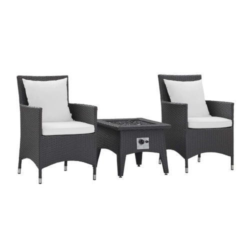 Taryn Espresso and White Three Piece Outdoor Patio Furniture Set with Fire Pit, Two Dining Arm Chairs