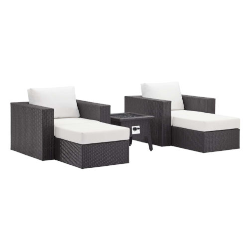 Darren Espresso and White Five Piece Outdoor Patio Furniture Set with Fire Pit, Two Armchairs, Two Ottomans