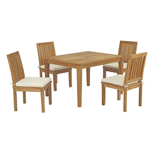 Roat Natural and White 98-Inch Outdoor Patio Dining Table with Four Side Chair