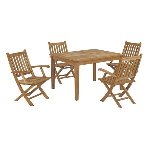 Roat Natural 95 -Inch Five Piece Outdoor Patio Dining Table with Four Folding Chair