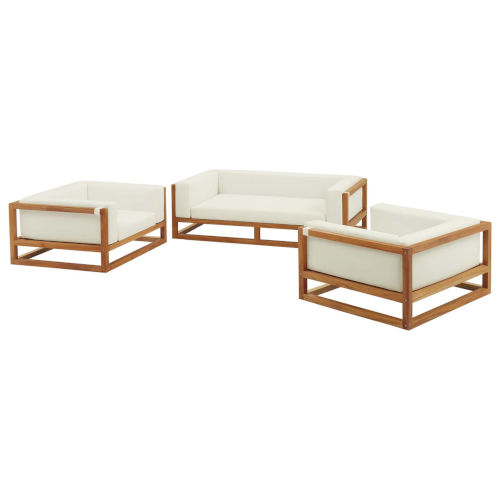 Taryn Natural and White Three Piece Outdoor Patio Furniture Set with Sofa, Two Armchair