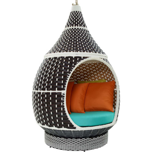 Darren Brown and Turquoise 48-Inch Outdoor Patio Swing Chair