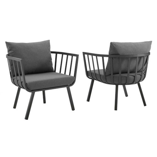 Taryn Gray and Charcoal Outdoor Patio Armchair