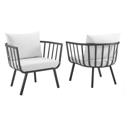 Taryn Gray and White Outdoor Patio Armchair