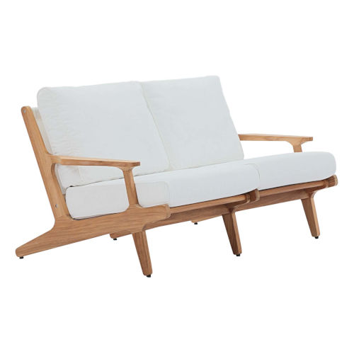Roat Natural and White Outdoor Patio Loveseat