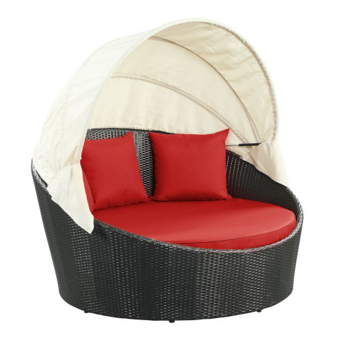 Darren Espresso and Red Outdoor Patio Daybed