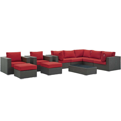 Darren Canvas Red 10 Piece Outdoor Patio Furniture Set with Coffee Table, Three Armless Chair, Two Armchair, Two Corner