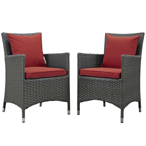 Taryn Canvas Red Two Piece Outdoor Patio Dining Arm Chair, Set of 2