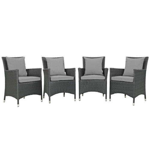 Taryn Canvas Gray Four Piece Outdoor Patio Dining Arm Chair, Set of 4