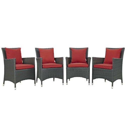 Taryn Canvas Red Four Piece Outdoor Patio Dining Arm Chair, Set of 4