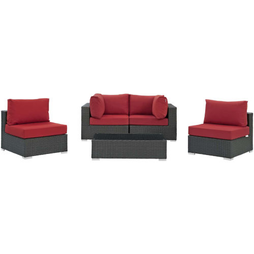 Darren Canvas Red Five Piece Outdoor Patio Furniture Set with Coffee Table, Two Armless Chairs, Two Corners
