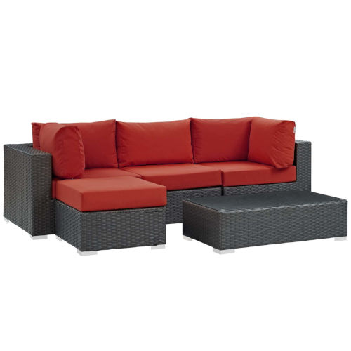 Darren Canvas Red Five Piece Outdoor Patio Furniture Set with Armless Chair, Coffee Table, Ottoman, Two Corners