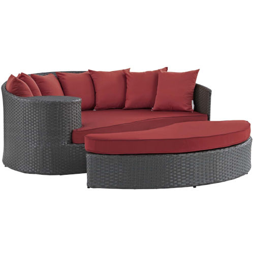 Darren Canvas Red Outdoor Patio Daybed with Bed, Ottoman