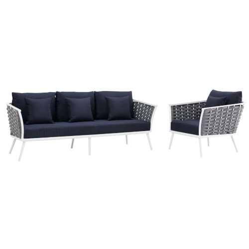 Taryn White and Navy Two Piece Outdoor Patio Furniture Set with Armchair, Sofa