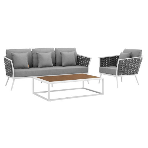 Taryn White and Gray Three Piece Outdoor Patio Furniture Set with Armchair, Coffee Table, Sofa