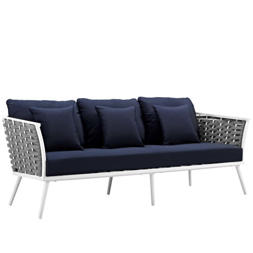 Taryn White and Navy Outdoor Patio Sofa