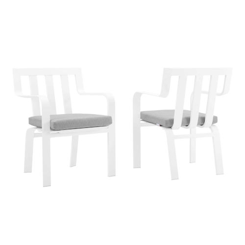 Taryn White and Gray Outdoor Patio Stackable Dining Arm Chair, Set of 2