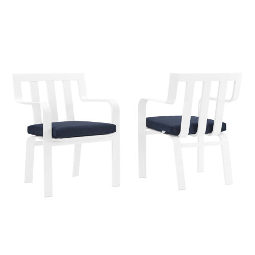 Taryn White and Navy Outdoor Patio Stackable Dining Arm Chair, Set of 2