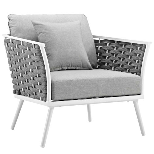 Taryn White and Gray Outdoor Patio Arm Chair