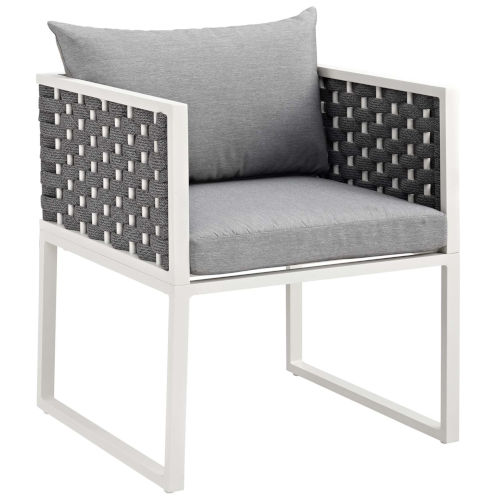 Darren White and Gray Outdoor Patio Dining Arm Chair