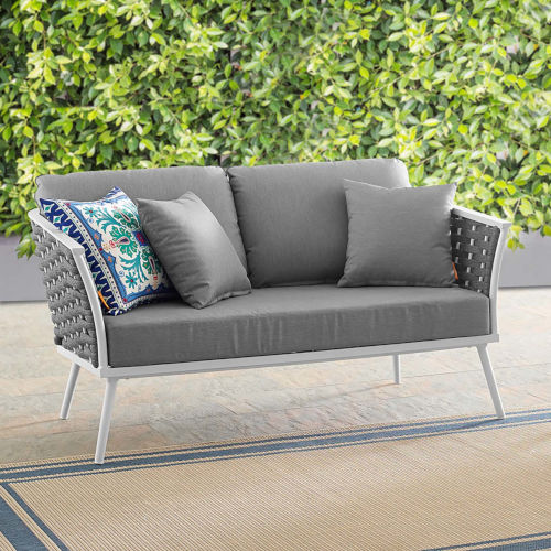 Taryn White and Gray Outdoor Patio Loveseat