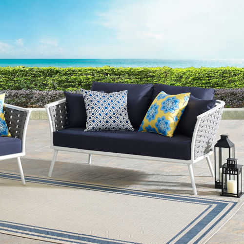 Taryn White and Navy Outdoor Patio Loveseat