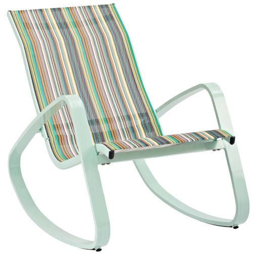 Taryn Green Stripe Outdoor Patio Sling Lounge Chair