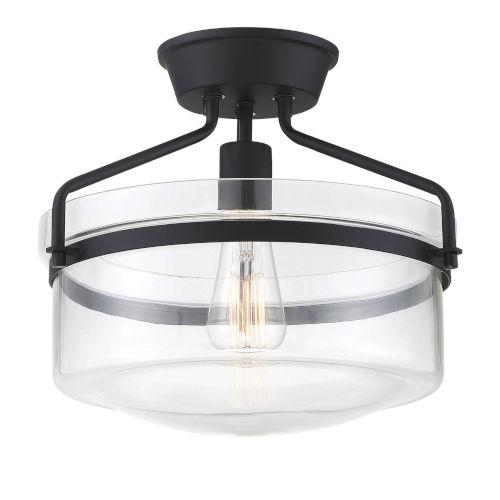 Afton Matte Black One-Light Semi Flush Mount