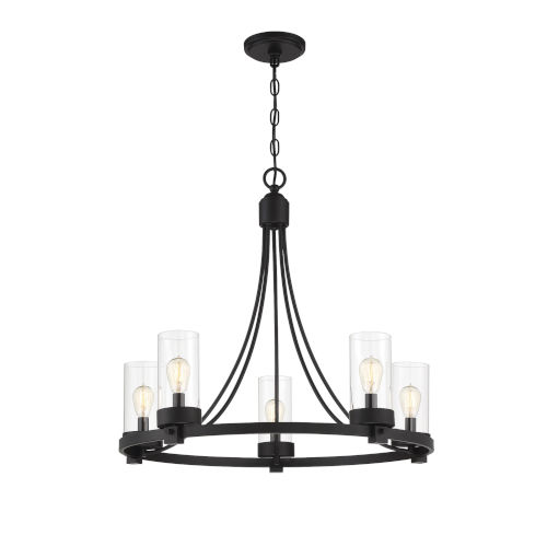 Whittier Matte Black Five-Light Chandelier
