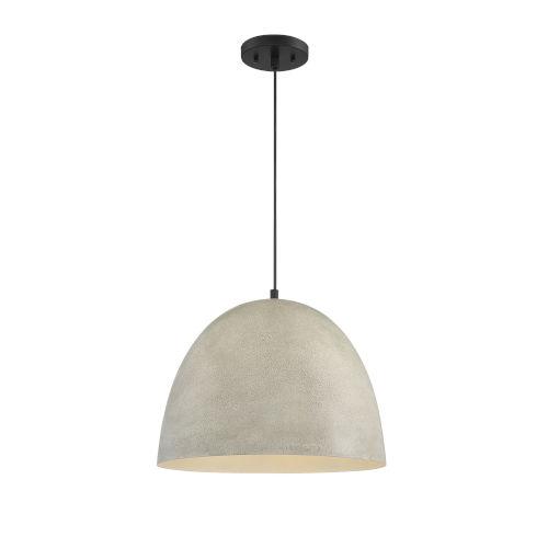 Cora Concrete with Matte Black 16-Inch One-Light Pendant