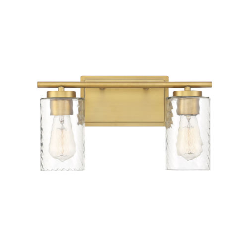 York Natural Brass Two-Light Bath Vanity