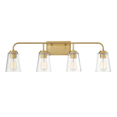 Loring Natural Brass Four-Light Bath Vanity