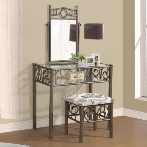 Whittier Black Metal Vanity with Bench