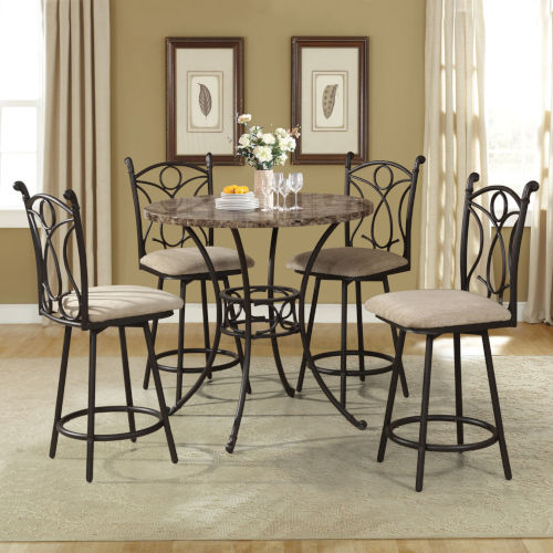 Whittier Black Five-Piece Counter Height Metal Dining Set