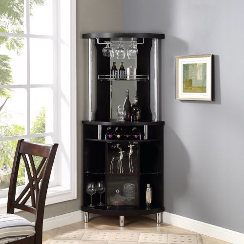Whittier Black 23-Inch Corner Bar Unit
