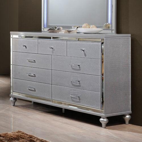 Monroe Silver Nine-Drawer Dresser