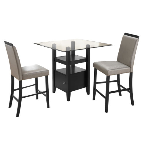 Selby Black Three-Piece Counter Height Dining Set