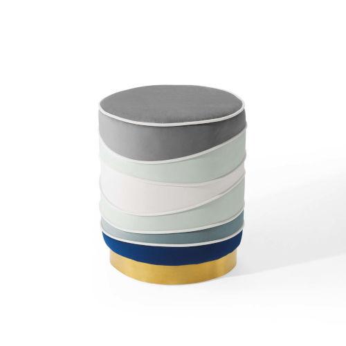 Nicollet Multicolor Round Performance Velvet Ottoman
