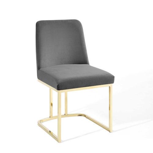 Nicollet Gold Gray Sled Base Performance Velvet Dining Side Chair