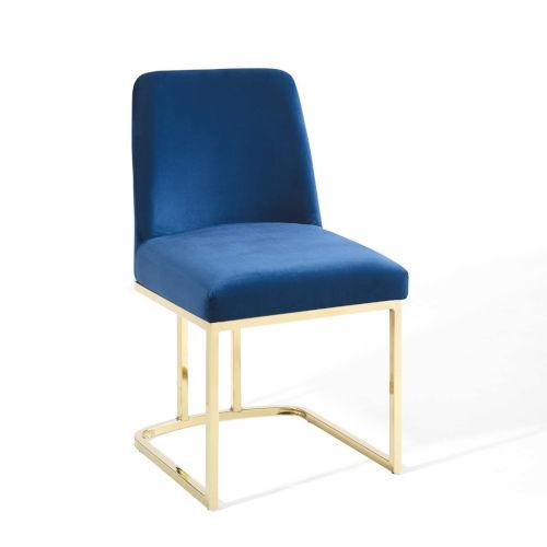 Cooper Gold Navy Sled Base Performance Velvet Dining Side Chair