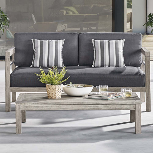 Roat Light Gray Outdoor Patio Acacia Wood Coffee Table