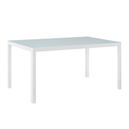 Darren White 59-Inch Outdoor Patio Aluminum Dining Table