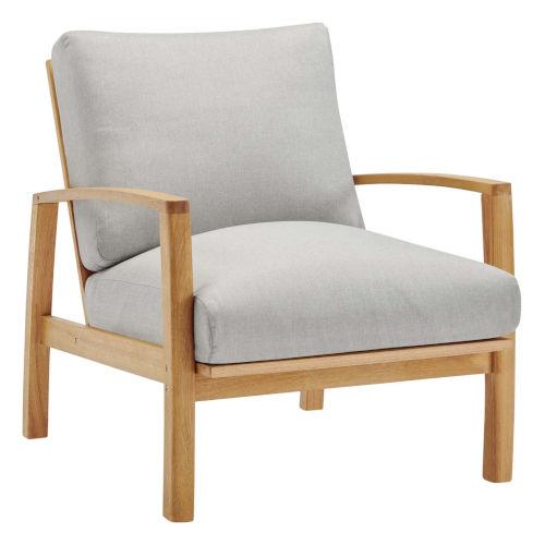 Darren Natural Light Gray Outdoor Patio Eucalyptus Wood Lounge Armchair
