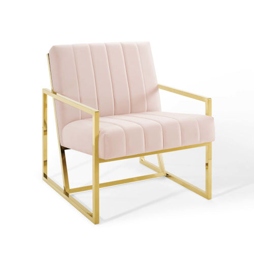 Cooper Pink Channel Tufted Performance Velvet Armchair