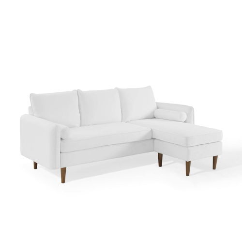 Uptown White Upholstered Right or Left Sectional Sofa