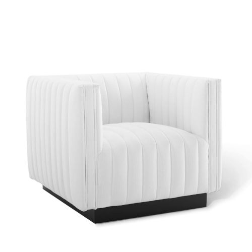 Cooper White Tufted Upholstered Fabric Armchair
