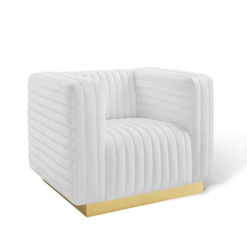 Cooper White Channel Tufted Performance Velvet Accent Armchair